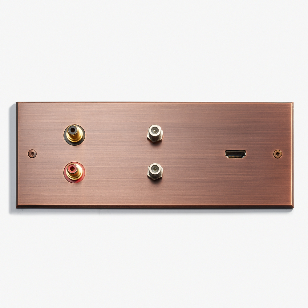 "Custom Data Plate - Speaker Jacks<a href=""/207-x-82-speaker-outlet-coaxial-hdmi-visible-screws-cuivre-patine""></a><strong>Cuivre Patiné</strong>"