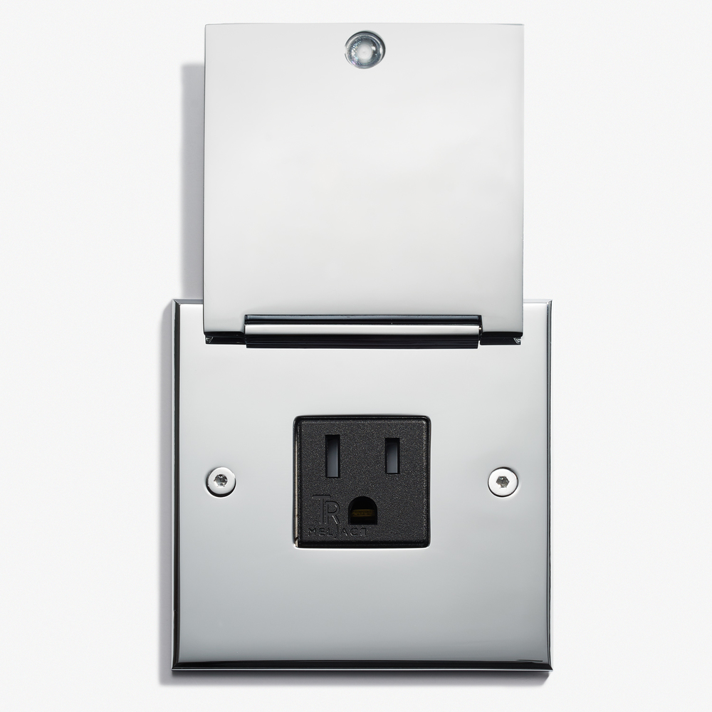 LVL-USA - 82 x 82 - Single Outlet - Cover - Chromé Vif