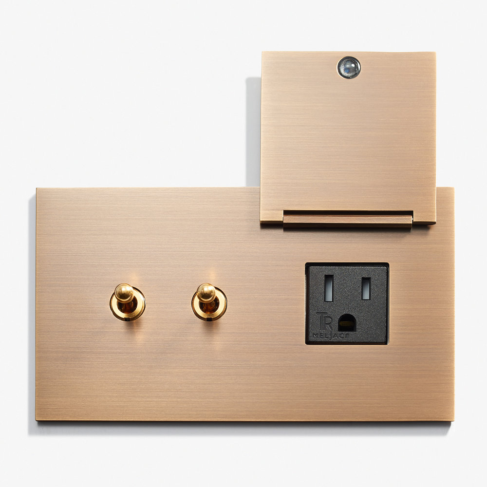 LVL-USA - 144 x 82 - 2 INV + Outlet - Cover - Hidden Screws - Straight Edge - Bronze Médaille Allemand