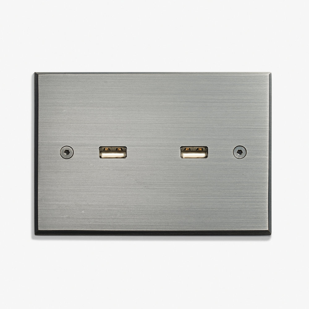 """2 USB - Visible Screws<a href=""""/117-x-82-2-usb-visible-screws-argent-patine""""></a><strong>Argent Patiné</strong>"""