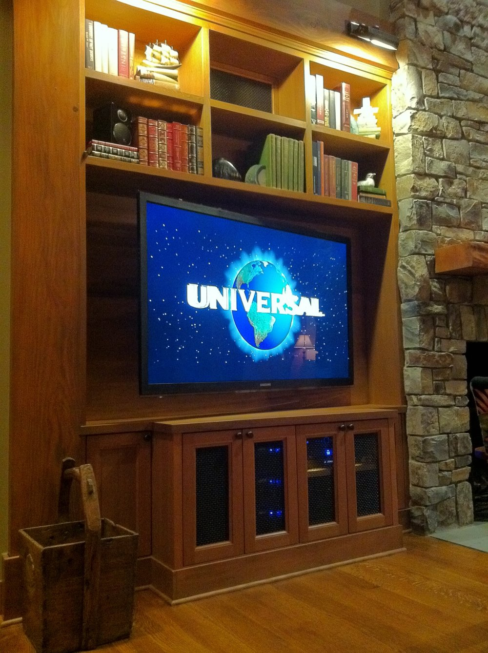 "A 65"" LED television can look small in a large cabinet!"