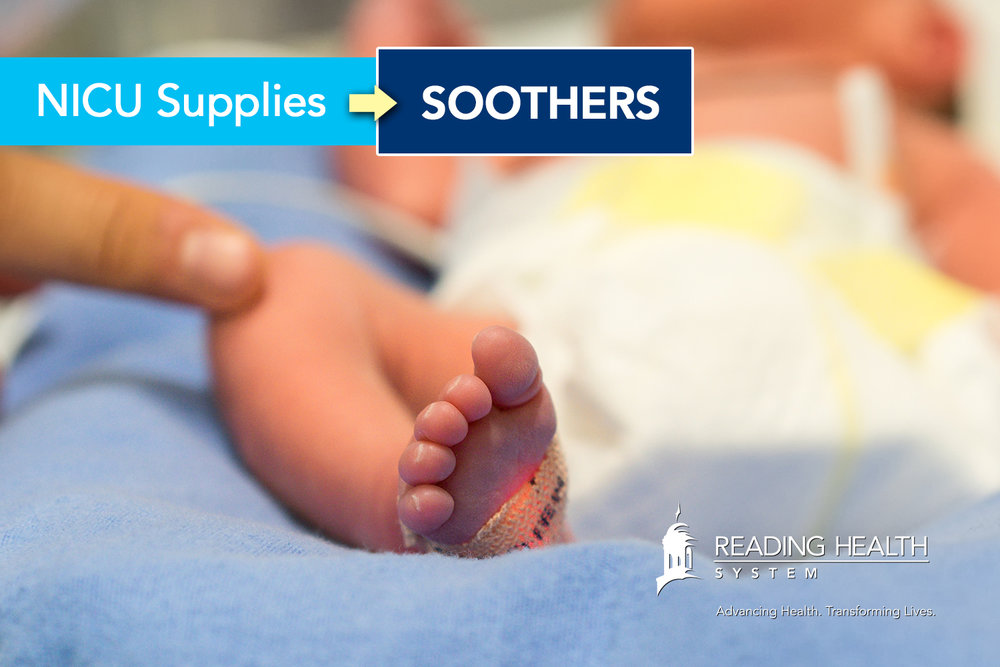 Reading Hospital NICU Supplies: Crib Soothers
