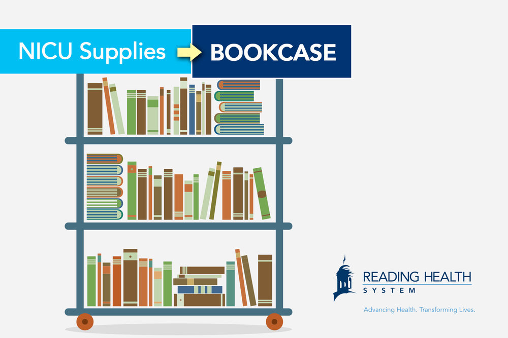 Reading Health System NICU Supplies: Mobile Bookcase