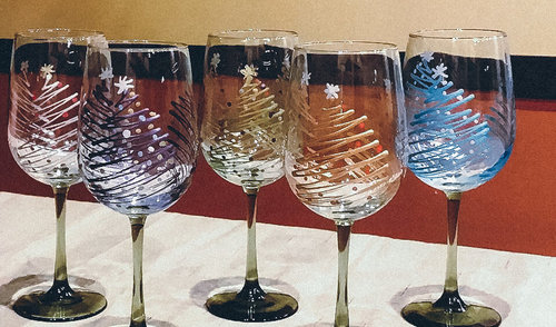 Dec 17 Holiday Wine Glass Painting Lets Paint