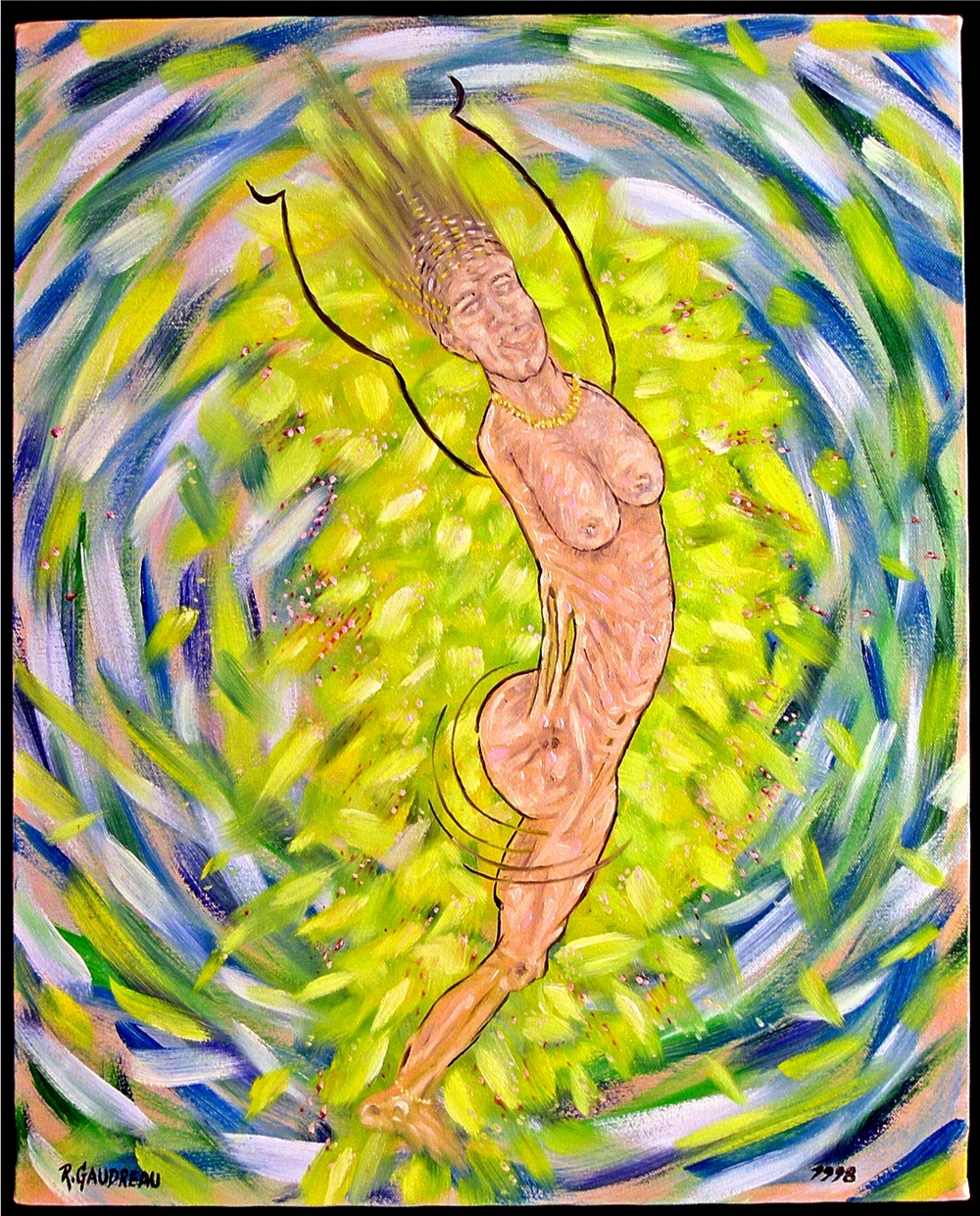 Woman Stretching Cosmic Membranes    1998 oil on canvas 20 x 16 inches