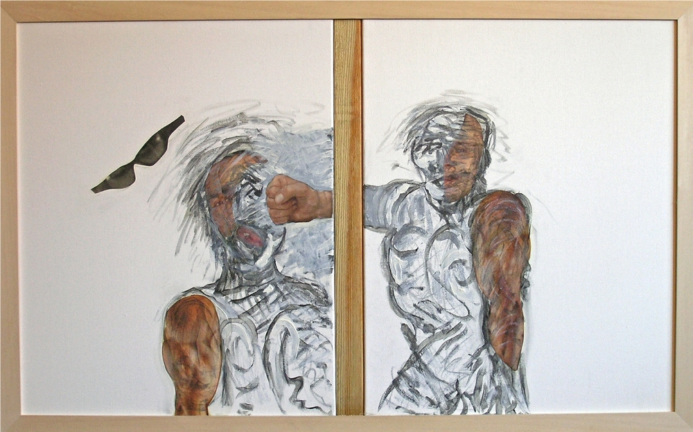 "Rebound   2012-13   Mixed Media, oil, painting on canvas    20""H x 33 5/8""W (Diptych)"