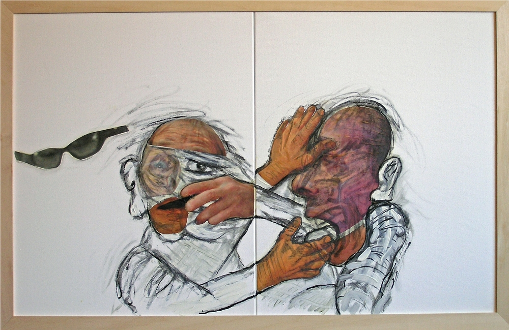 "Agreement   2012-13 Mixed Media, oil, painting on canvas 20""H x 32""W (Diptych)"