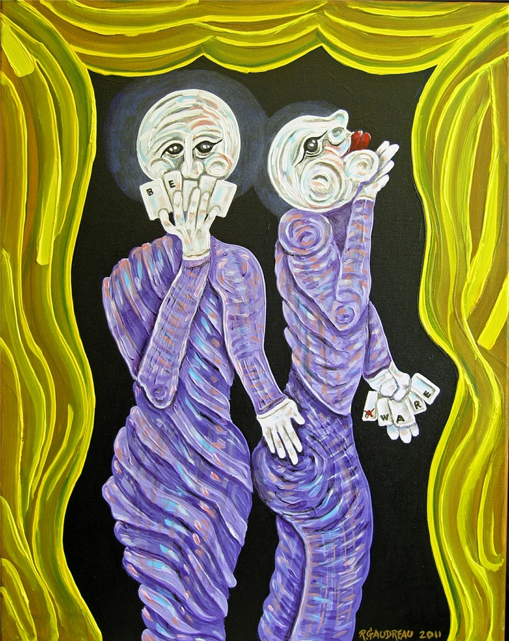 "Buskers of the CityBe Aware / Pick a Card     2011  Oil on canvas 28""H x 22""W"