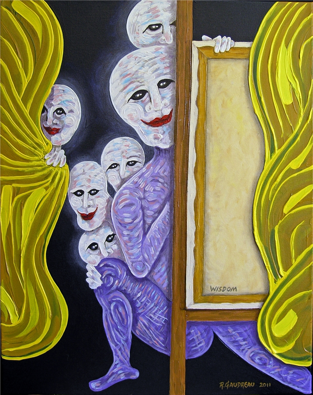 "Buskers of the City  Wisdom / Mentor      2011  Oil on canvas 28""H x 22""W"
