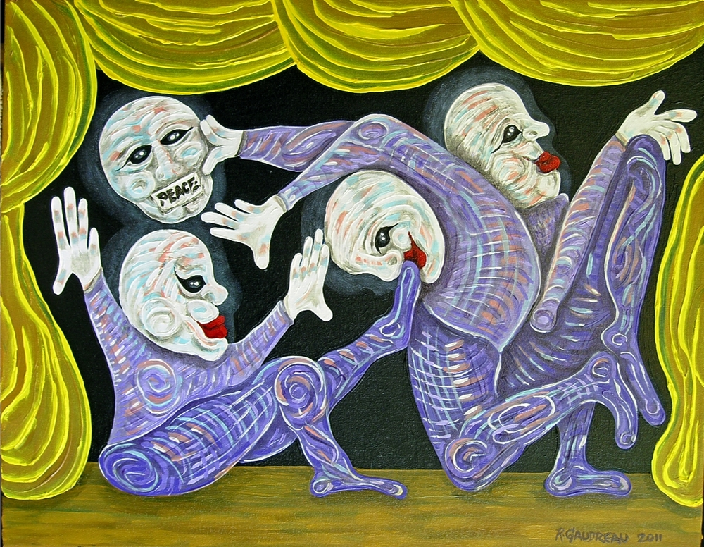"Buskers of the City  Peace / Play Time      2011  Oil on canvas 22""H x 28""W"