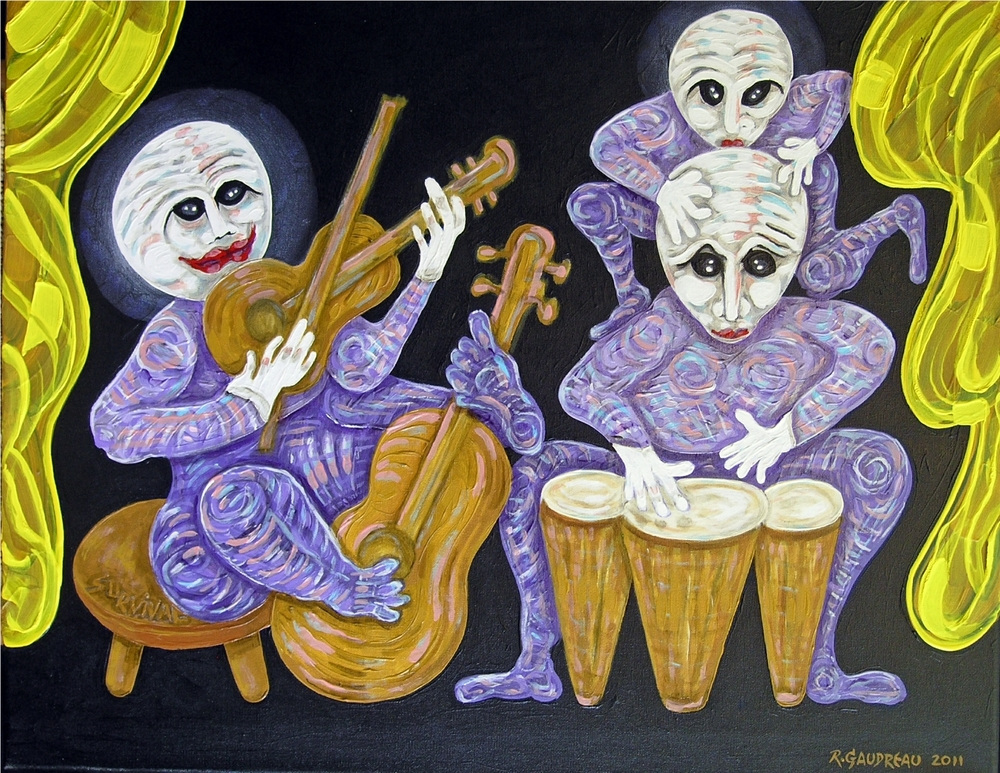 "Buskers of the City     Survival / Ensemble     2011  Oil on canvas 22""H x 28""W"