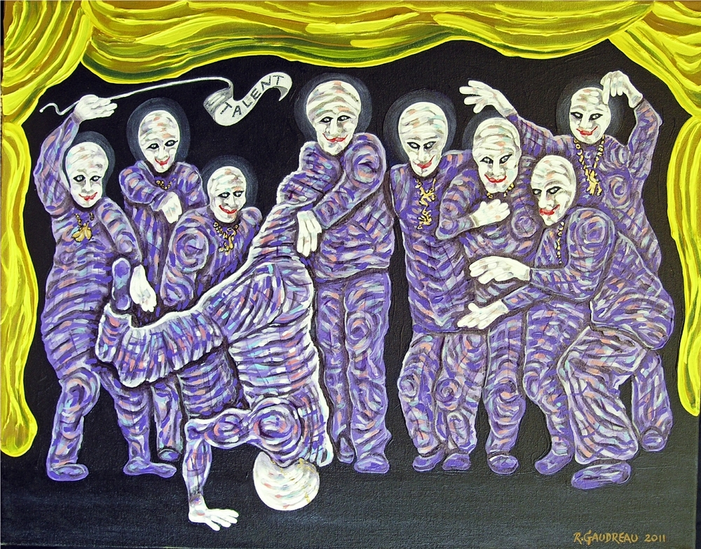 "Buskers of the City  Talent / Fearless     2011  Oil, 23k gold on canvas 22""H x 28""W"