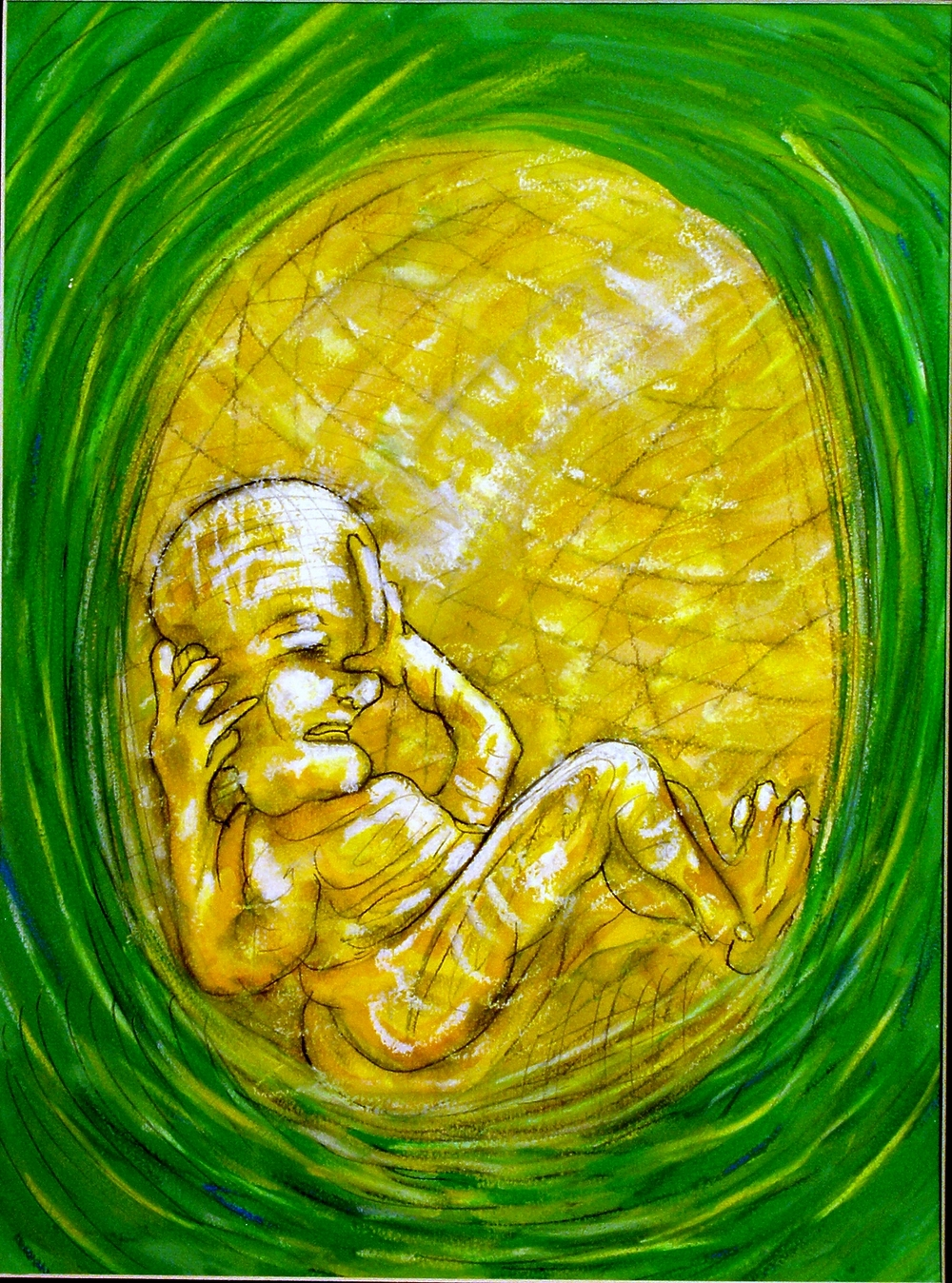 My Daughters Embryonic State Covering Ears    2007 Gouache, Oil Pastel mixed media painting on watercolor paper 16H x 12W inches