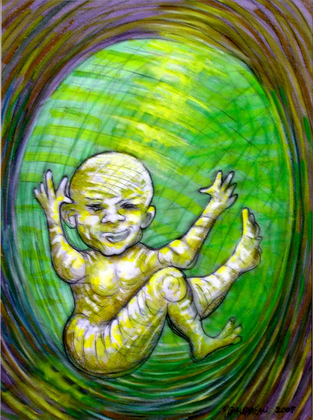 My Daughters Embryonic State Waving     2007 Gouache, Oil Pastel mixed media painting on watercolor paper 16H x 12W inches