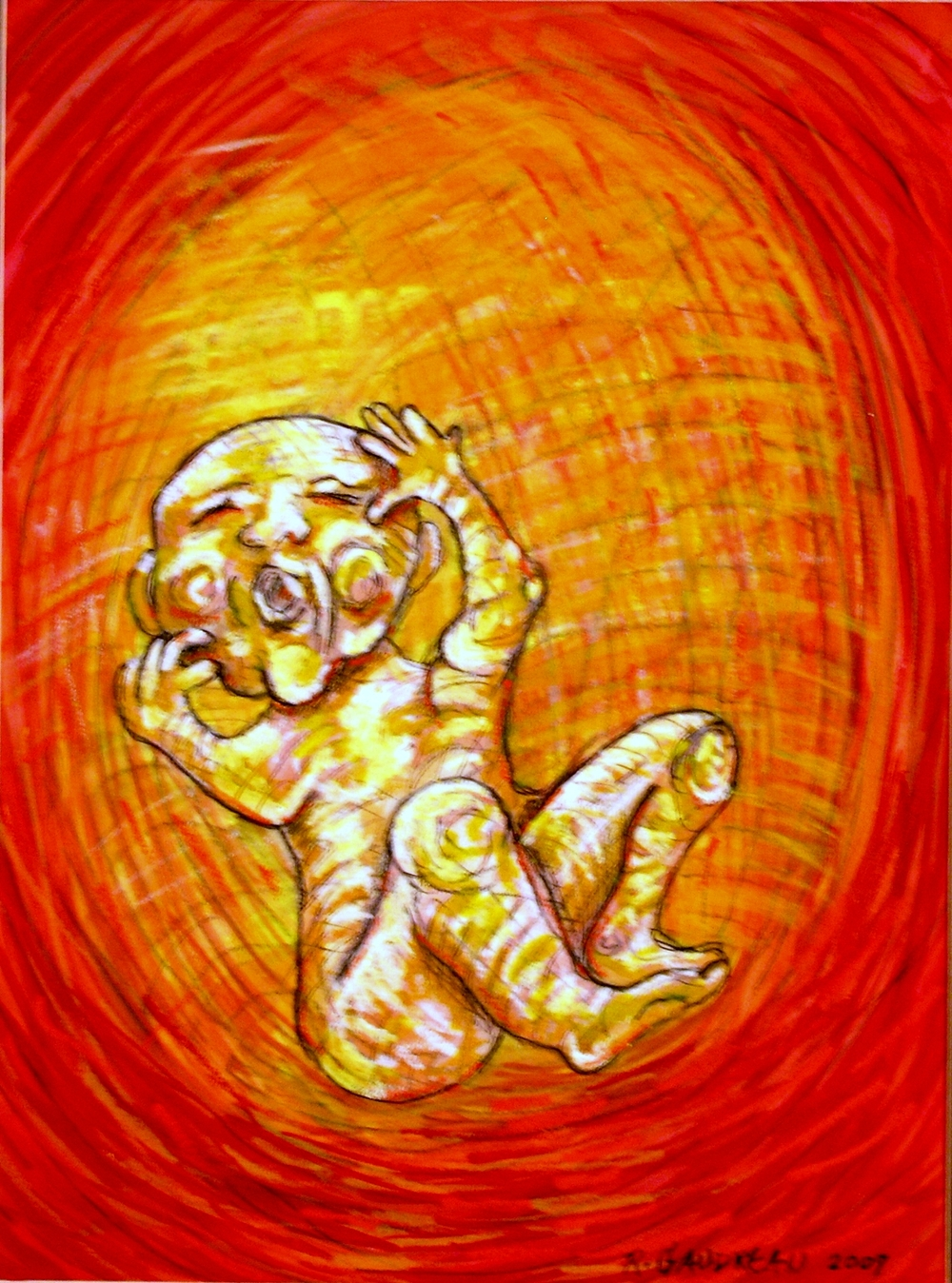 My Daughters Embryonic State Ready to Feed    2007 Gouache, Oil Pastel mixed media painting on watercolor paper 16H x 12W inches