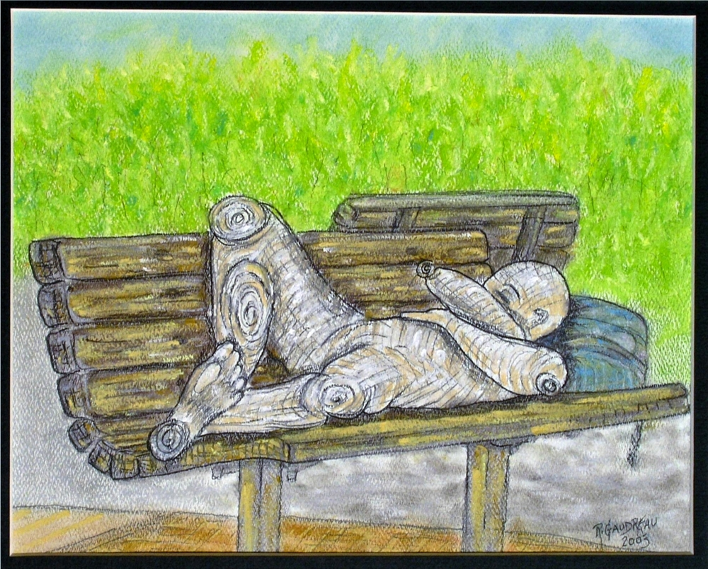 Park Bench  2003 pastel, charcoal on paper 8 x 10 inches
