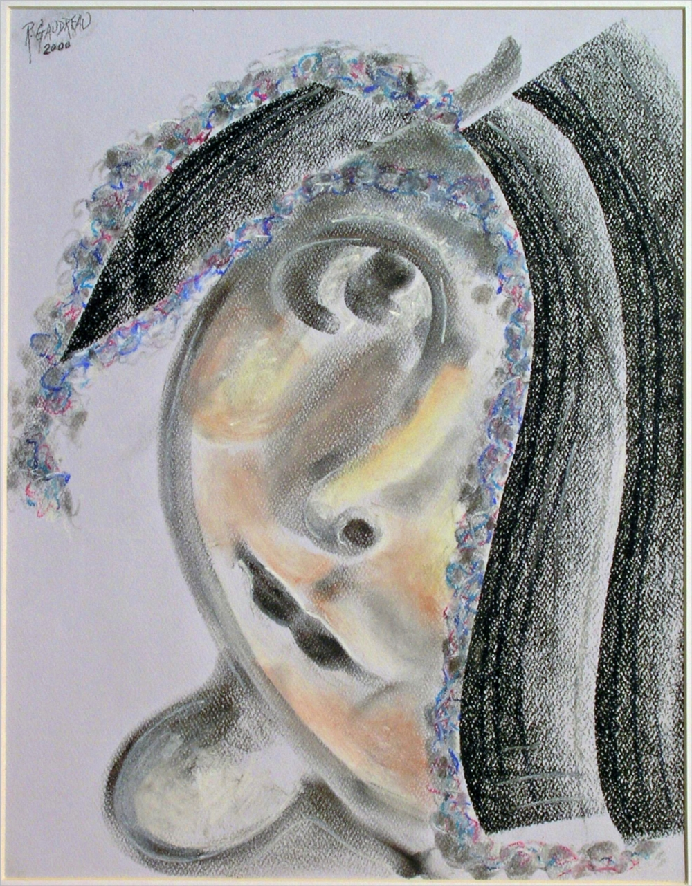 Girl with Hat 2000 pastel, charcoal on paper 14 x 11 inches