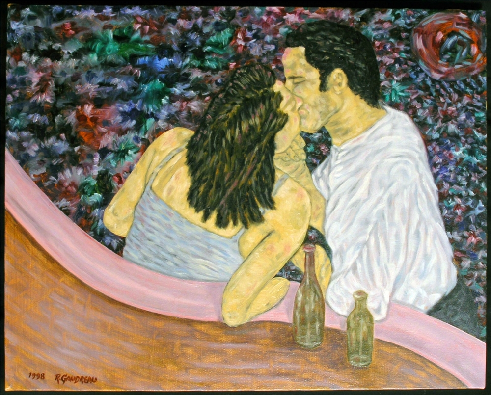 Night Club Kiss 1998 oil on canvas 16 x 20 inches