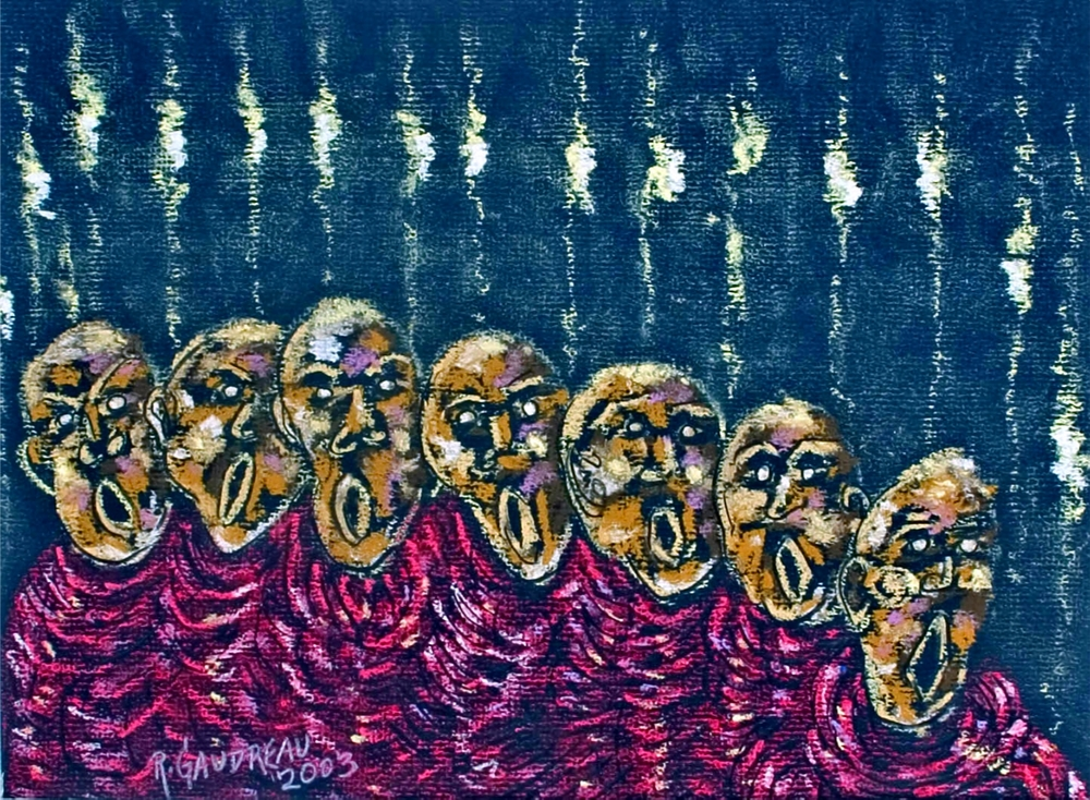 The Carolers   2003 pastel, charcoal on paper 9 x 12 inches