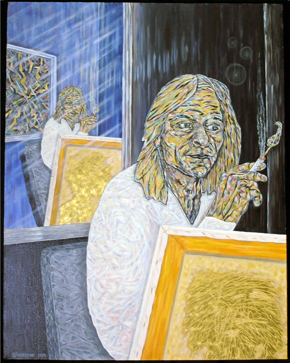 Self Portrait Gold 1998 mixed media 23k gold leaf oil painting on canvas 28 x 22 inches
