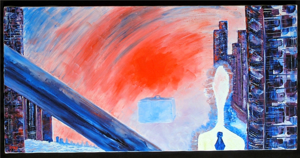 Man with the Suitcase Ready to Jump   1997 mixed media knife painting on canvas 15 x 30 inches