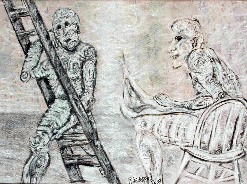 The Artist and the Ladder 2003 pastel, charcoal on paper 9 x 12 inches