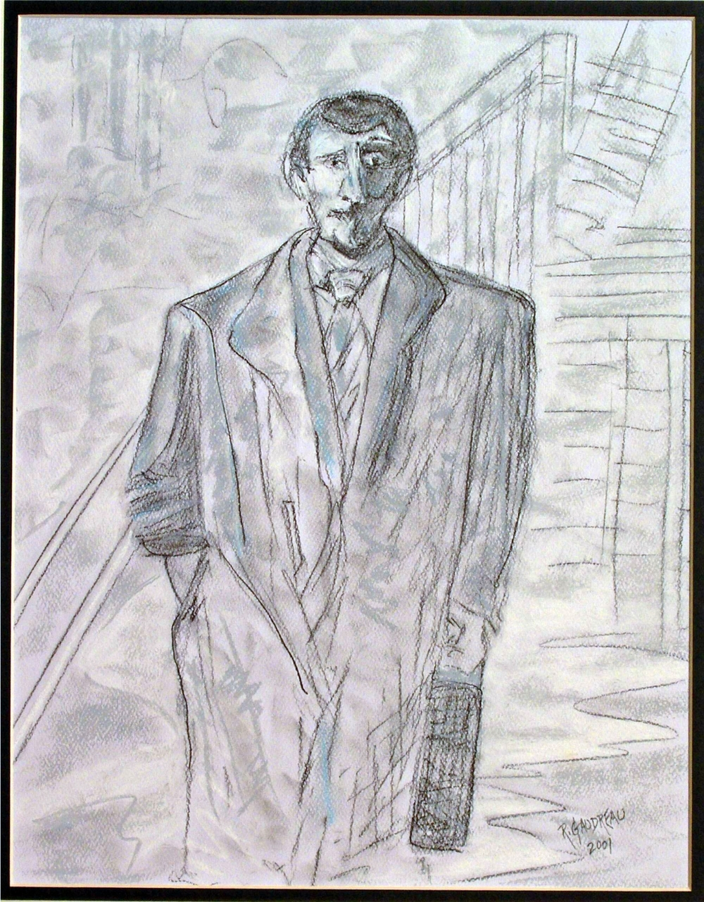 Man with the Suitcase(sketch)    2001 pastel, charcoal on paper 14 x 11 inches