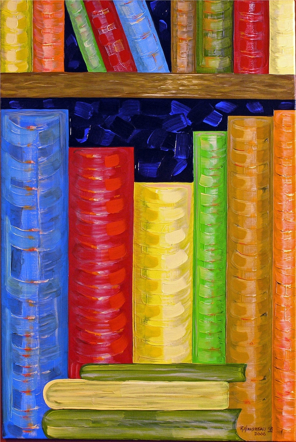 18  Books 2006 oil on canvas 36 x 24 inches