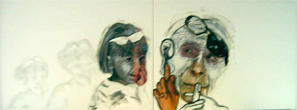 "Secret or Wish  2012-13   Mixed Media, oil, painting on gesso board    12""H x 32""W (Diptych)"