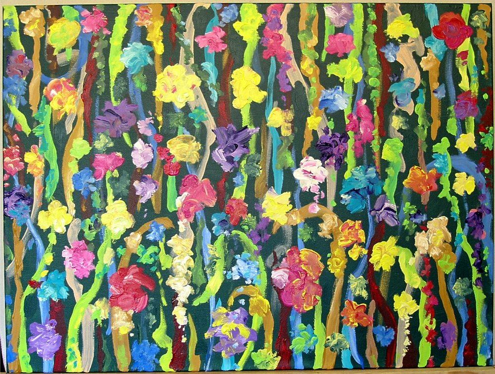 "7 Times to Flourish Number 7- 2014 30""h x 40""w acrylic on canvas"
