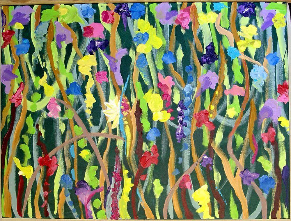 "7 Times to Flourish Number 2 - 2014 30h"" x 40""w acrylic on canvas"