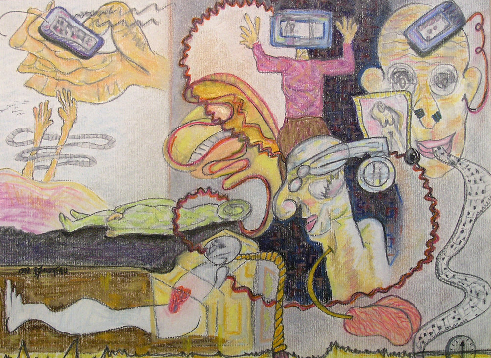 "Life Support  1997  charcoal, graphite, pastel on paper  9""H x 12""W"
