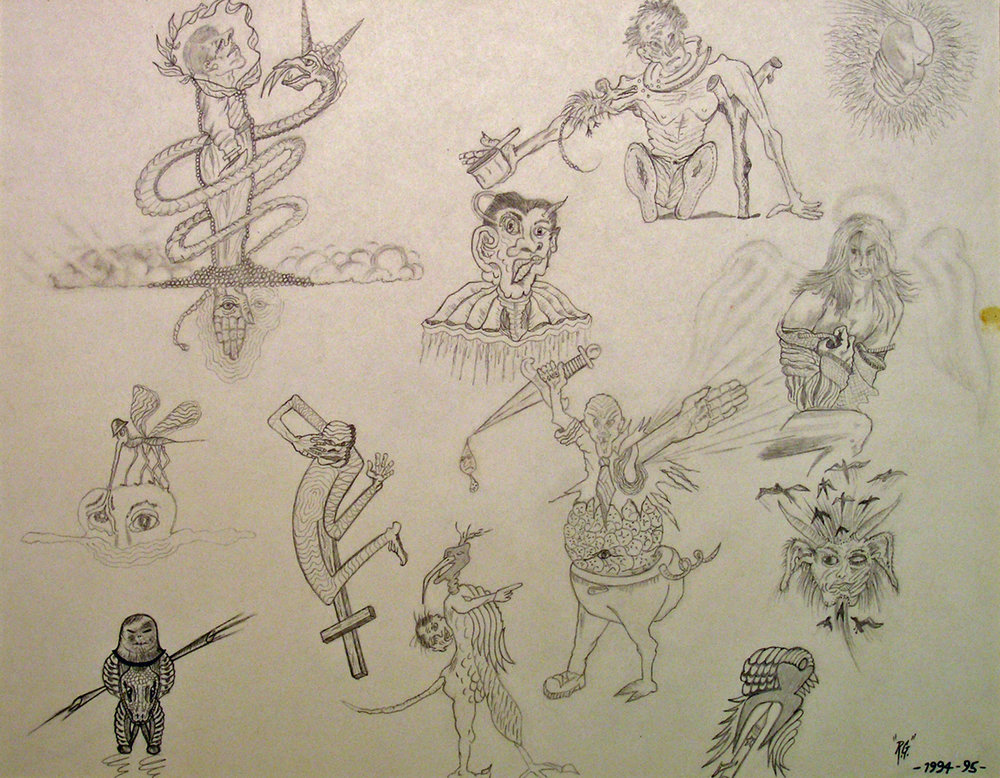 "Angels, Demons, Aliens, Victims Part 1 -  1994-95  pencil, graphite on Bristol board  12""H x 16""W"