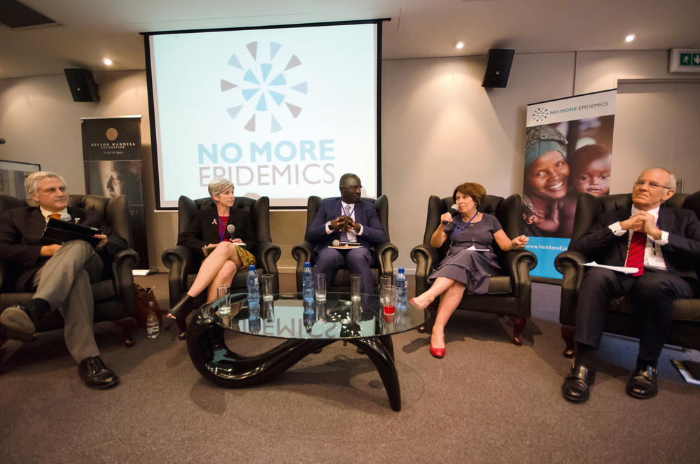 Leaders from the public and private sector in South Africa discuss the importance of epidemic prevention for businesses and communities at the launch of the No More Epidemics  ®   campaign    in Johannesburg in November 2015. (Photo Credit: Warren Zelman)