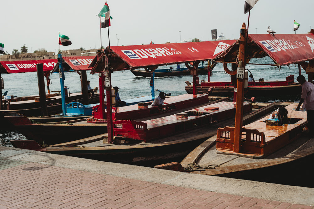 Old Dubai...where you can ride an Abra(water taxi) to the souk market for 1 dirham (about $0.27)