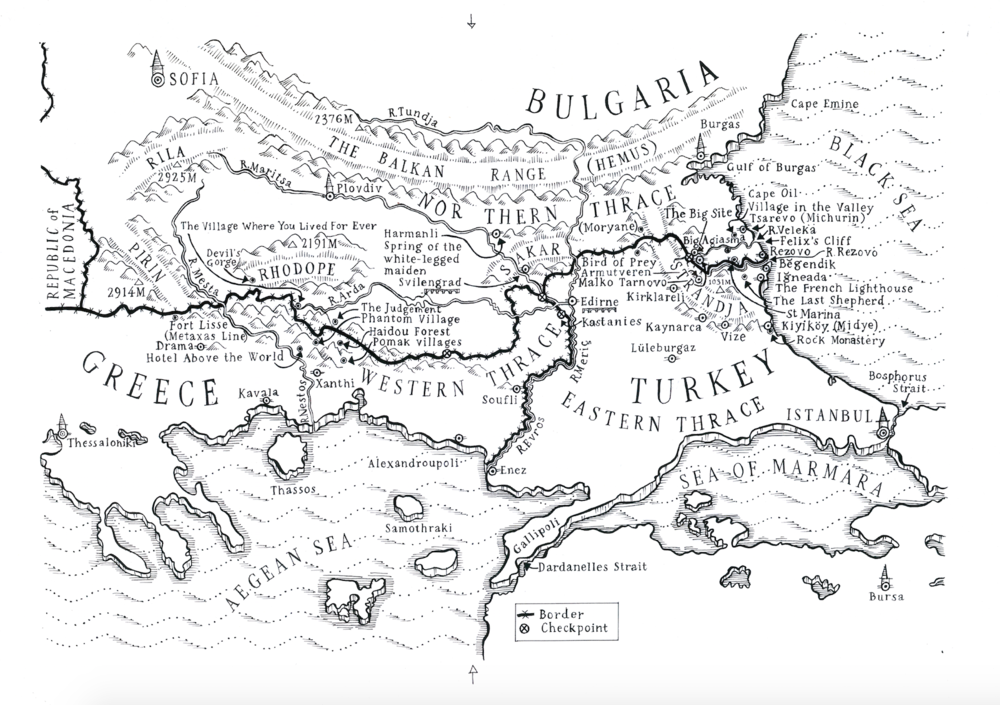 Map that begins the book (with refrences to all the chapters)