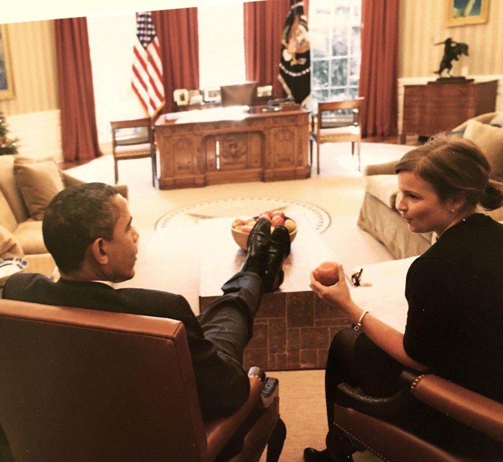 President Obama and Alyssa Mastromonaco (Marie Claire)