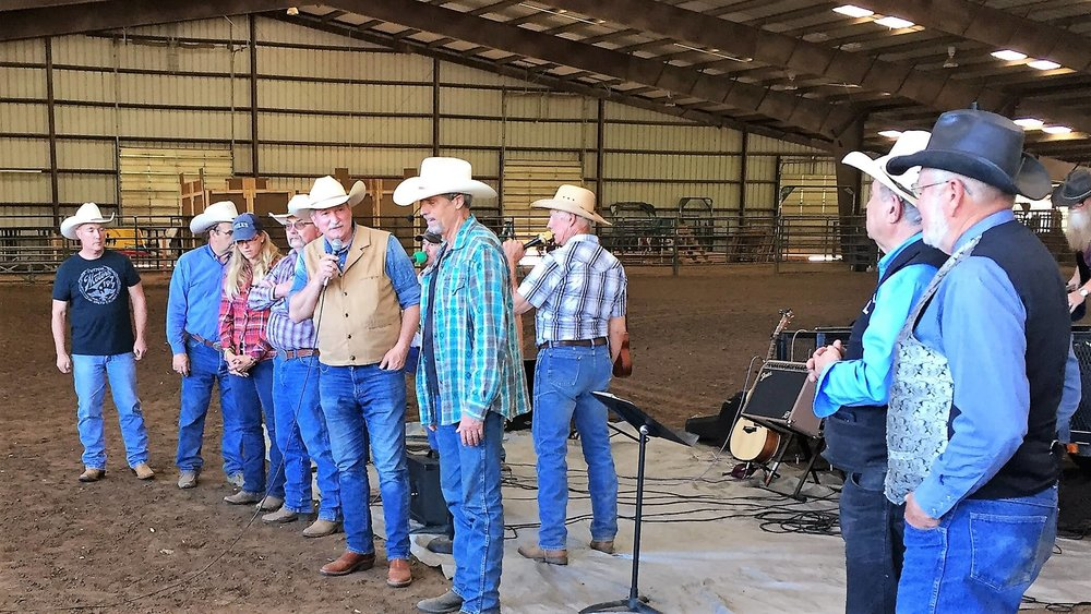 Cowboy Church pastors and leaders from more than half a dozen regional cowboy churches are introduced by Frank Slaughter and Dave Puthoff at a May 6 horse training event hosted by Open Range Fellowship of Lone Jack, Missouri.