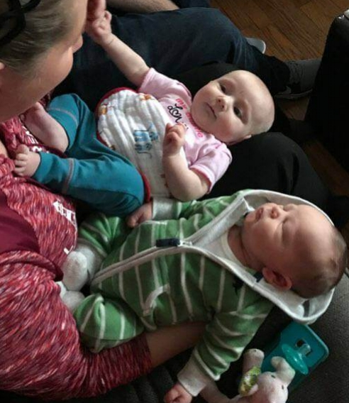 Zeke meeting his cousin Bridget, for the first time!