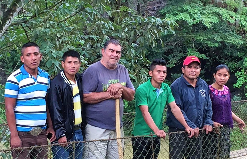 Kekchi group traveling with us: Left to right is Aníbal, Lorenzo, Cesar, Jose, and Jose's daughter Maria.