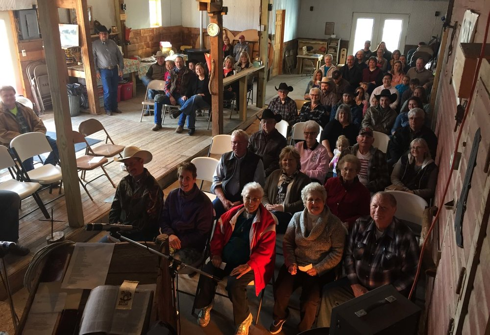 5 Years ago, Greg and Kendi Boller started the Lonestar Cowboy Church in their barn. Today, close to 100 strong come each Sunday.  Greg is standing in the top left corner.