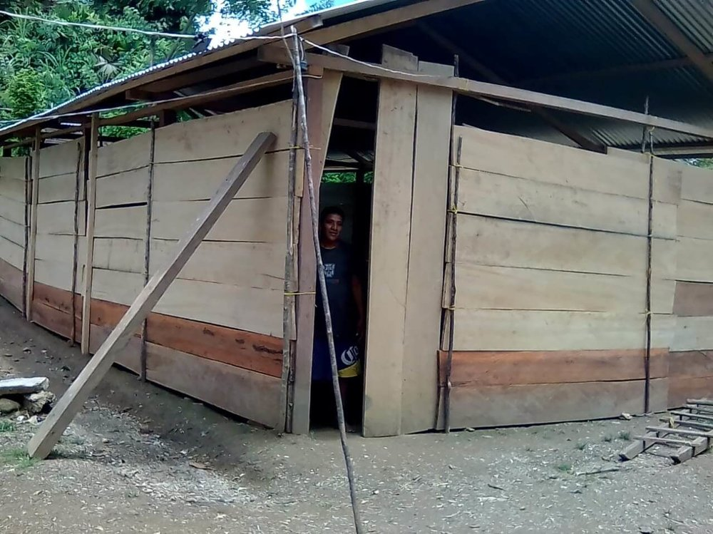 Thanks to Ray's church, Crosscreek Baptist Mission, since Ray's visit, this congregation has been able to finish their construction and get the box for hookup to electricity that just recently came to their village. This photo was sent to Cesar yesterday to show that they had just finished constructing the outside walls of their structure.