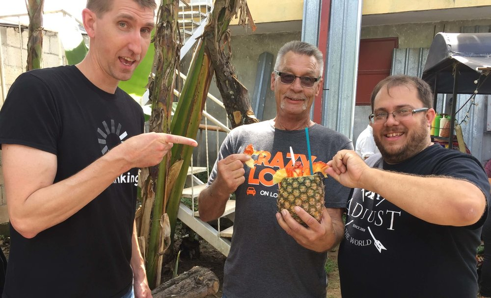 Ty, Joe, and Tim enjoyed the pineapple.