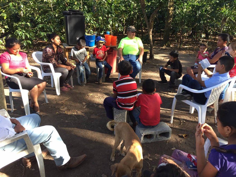 Here is a meeting of a group in Las Bolsitas, near Cesar's home. For those who know the story, this is the dog bite church! It got started in a house where I got bit by a dog. Note that they have moved to this new space in the middle of coffee trees (which is what you can see in the background).