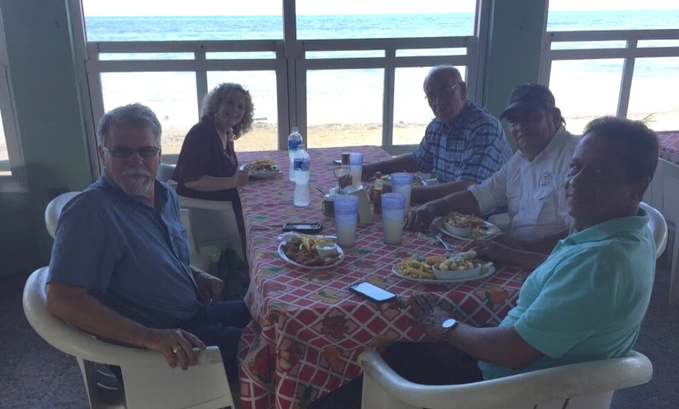 At a restaurant overlooking the ocean near La Ceiba, Honduras, we enjoyed a meal with Adonay, our friend at the head of the table, who will be leading a new Christian Rancher group. As a leader in a Cattlemen's Association, he later took us to their meeting.