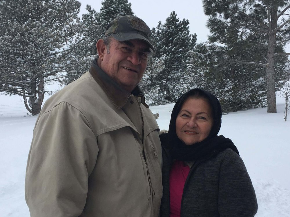 Cesar and Elba posed for a wintry picture outside of Rex and Deb Kelley's home.