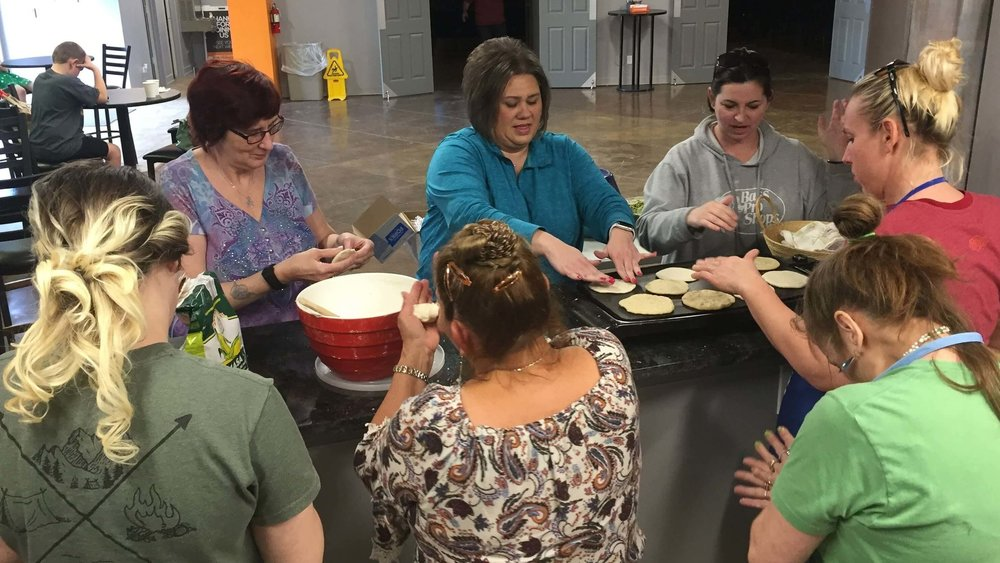 Elba Gonzalez taught some of the ladies at LifeQuest Church how to make tortillas.