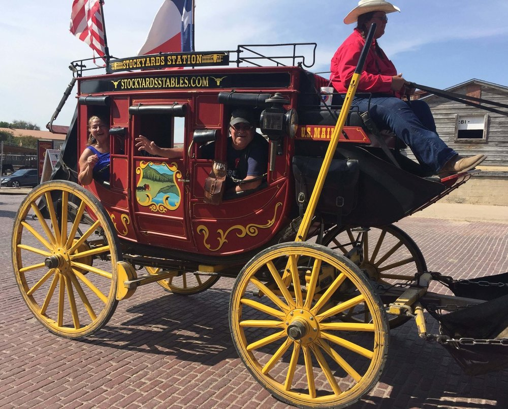One day in Fort Worth, Cesar and Elba enjoyed a stagecoach ride at the world famous stockyards!