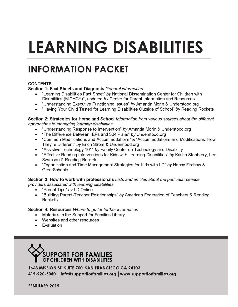 The Difference Between Accommodations And Modifications >> Learning Disabilities Info Packet — Support for Families of Children with Disabilities