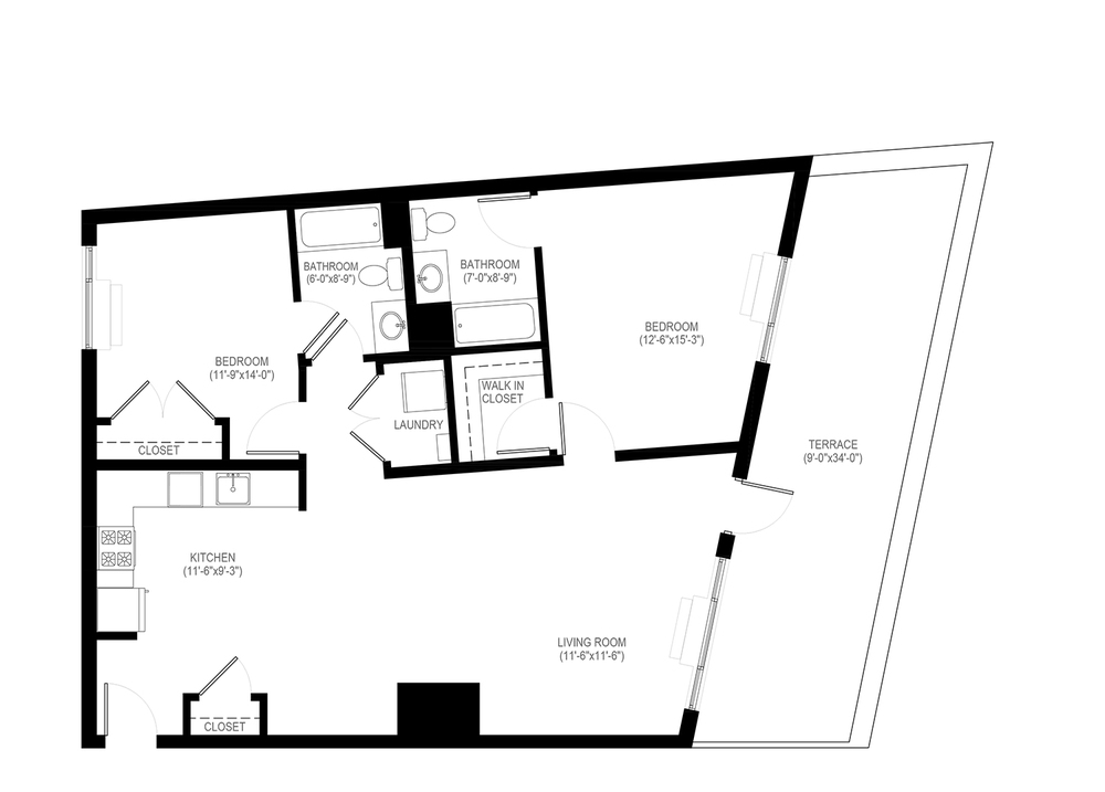 click on 2 bedroom floor plan to enlarge